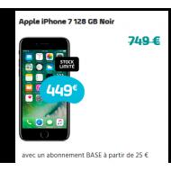 Apple iPhone 7 128 GB Noir - Abonnement Base