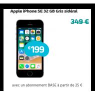 Apple iPhone SE 32 GB Gris sidéral - Abonnement BASE